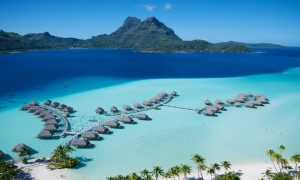 Overwater bungalows in Bora Bora, South Pacific.