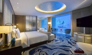 Underwater hotel suite in Dubai, UAE.