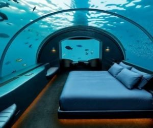 Maldives underwater hotel room at the Conrad Rangali Island.