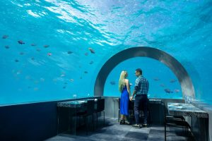 You & Me underwater hotel restaurant in the Maldives.