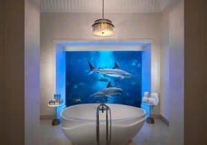 Bathroom of under the water hotel room in Dubai.