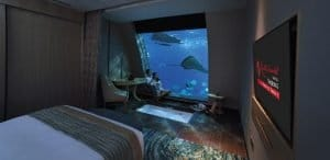 Underwater hotel bedroom in Singapore.